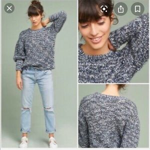 Anthropologie Moth fuzzy puffy sleeves sweater xs